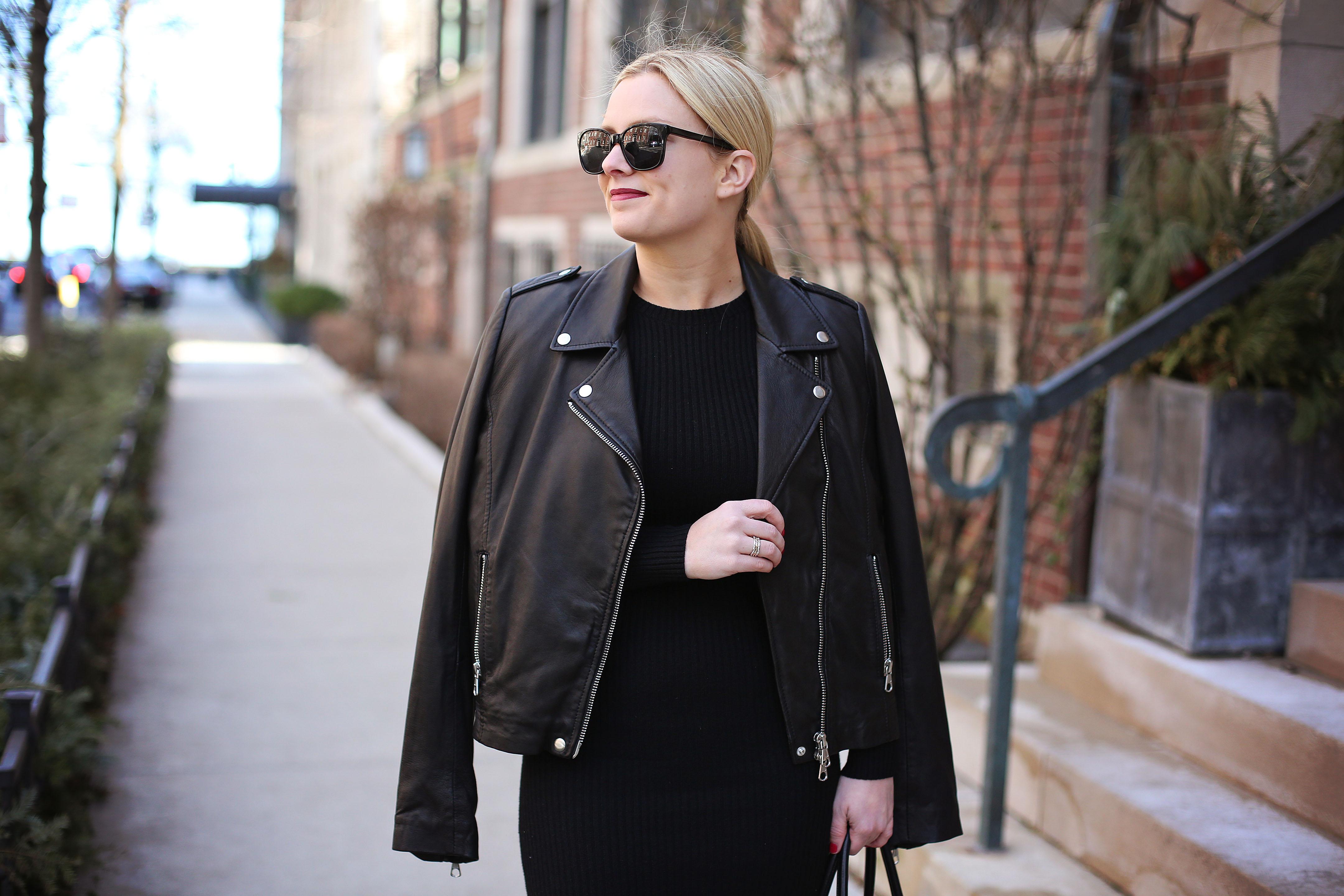 Leather Jacket and Black Midi Dress