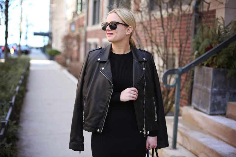 Leather Jacket and Black Midi Dress