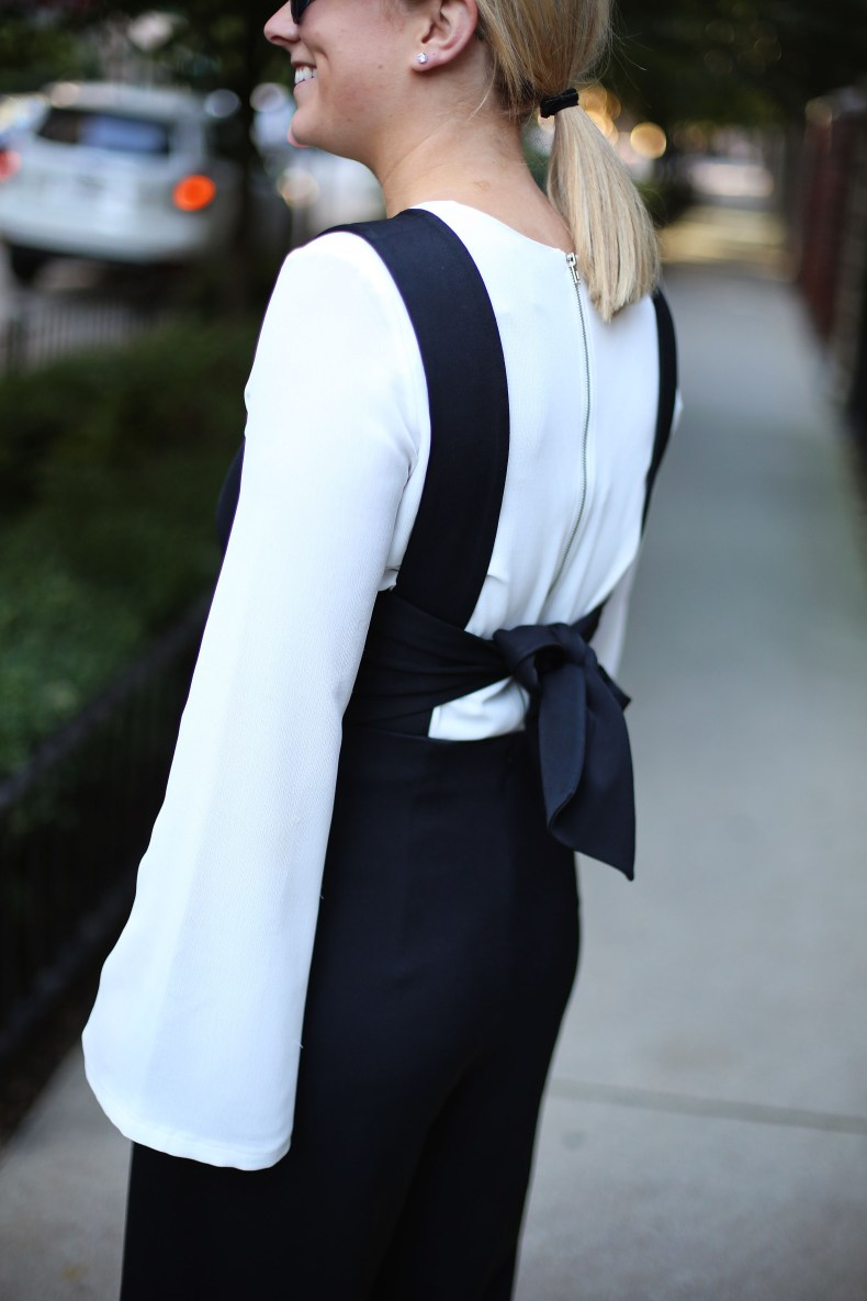 Layered jumpsuit holiday party outfit