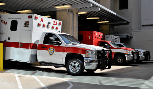 ambulances in parking