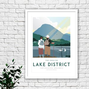 Art print of a couple of hikers, on a walking holiday around the Lake Districts