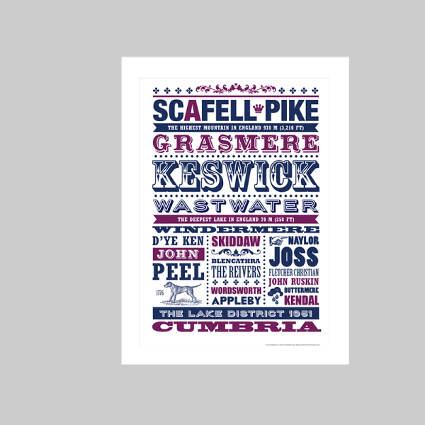 Typography art print of Cumbria, featuring all of the Lake District's most iconic mountains, hills and lakes. Design by Johnny Walker, from Lake District Designs.