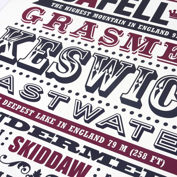 Typography Print of Cumbria, featuring all of the Lake District's most iconic mountains, hills and lakes.