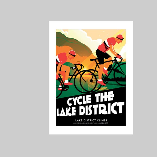 Art print of cyclists biking in the Lake District, passing through Kirkstone, Honister, Newlands, Wrynose, and Hardknott.