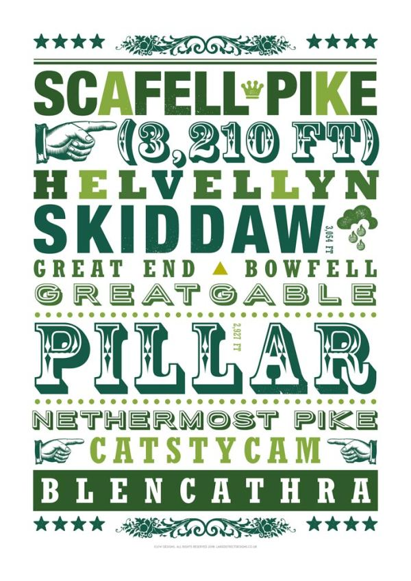 Lake district mountains typography print in green, including names of Pillar, Catsycam, Blencathra, Skiddaw and Scafell Pike.