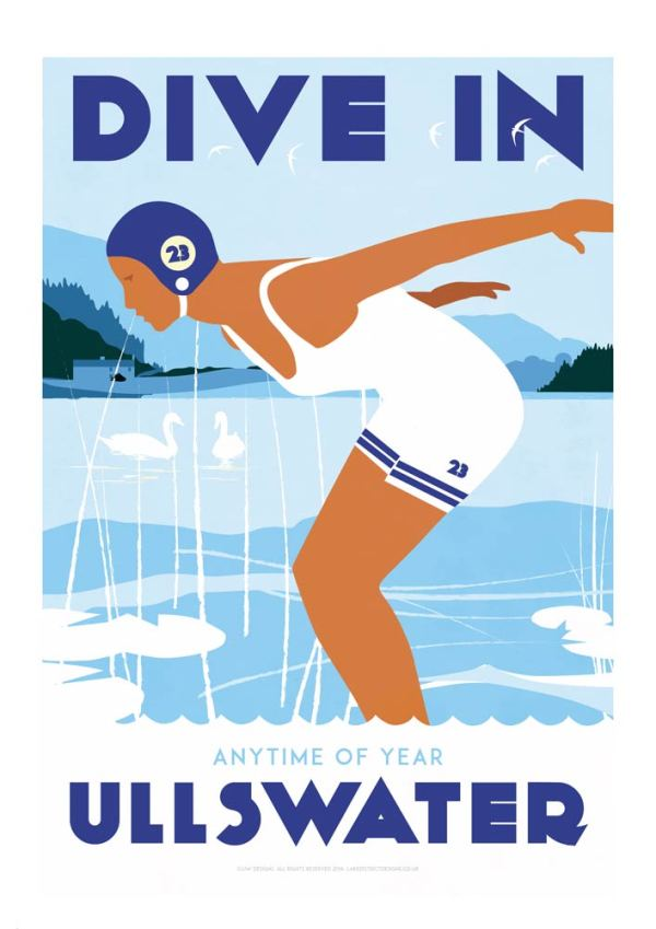 Lake district art print by Johnny Walker showing one female swimmer, wild swimming in the lakes.