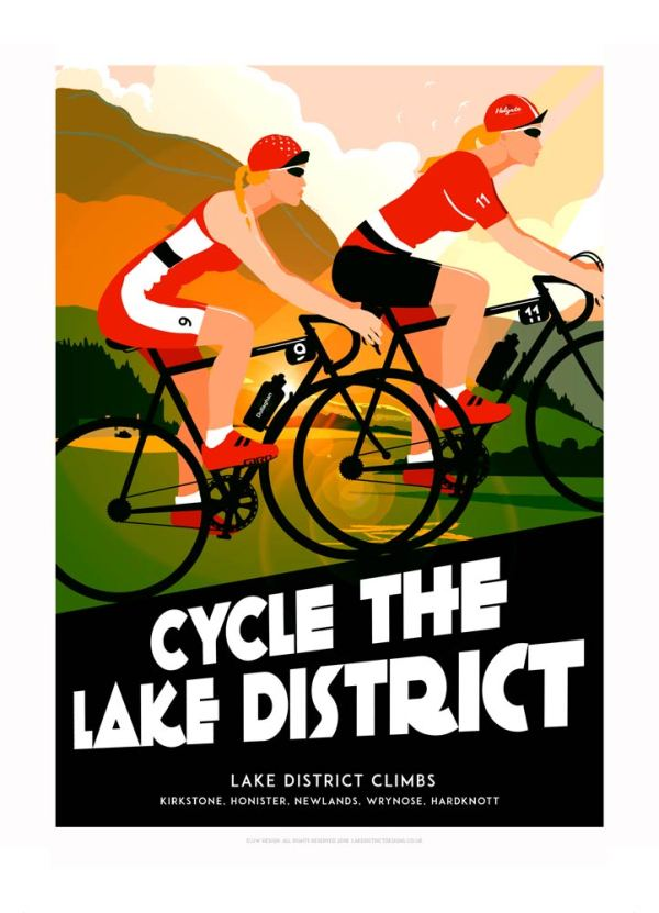 Lake district art print of female cyclists, biking across Kirkstone, Honister, Newlands, Wrynose, Hardknott.