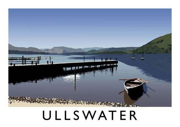 Digital art print of Ullswater in the Lake District, whowing the lakes, a boat and the harbour. Design by Richard O'Neill.