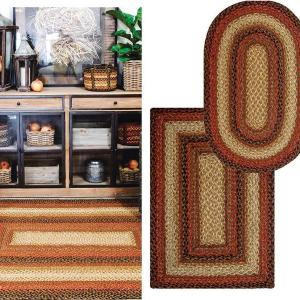 Russet Brown Jute Braided Rugs by Homespice Decor