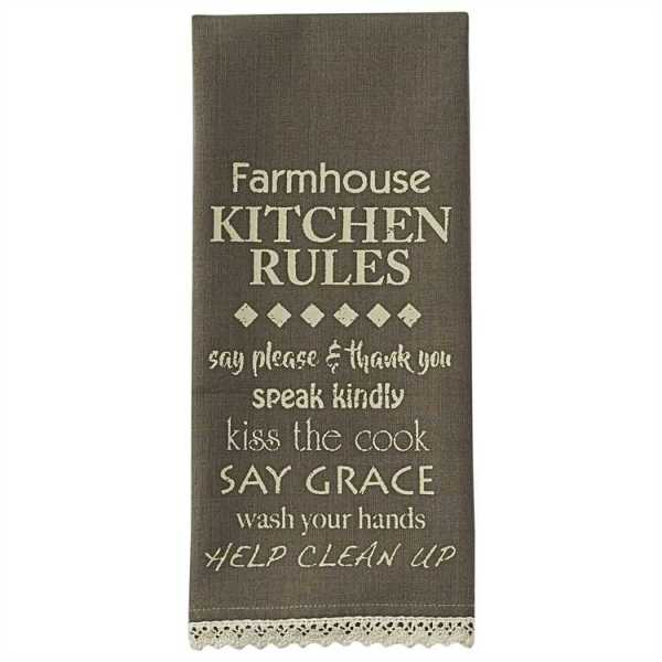 Farmhouse Kitchen Rules Printed Dishtowel