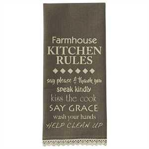 Farmhouse Kitchen Rules Printed Dishtowel