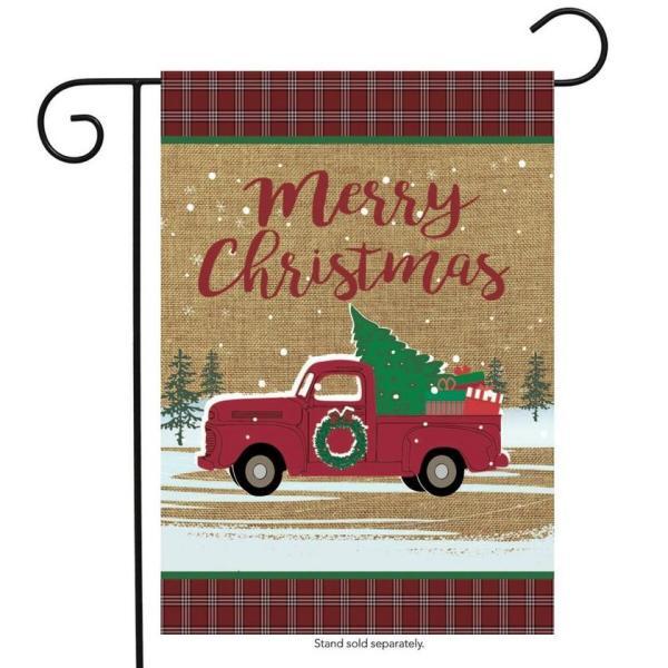 Christmas Truck Burlap Garden Flag