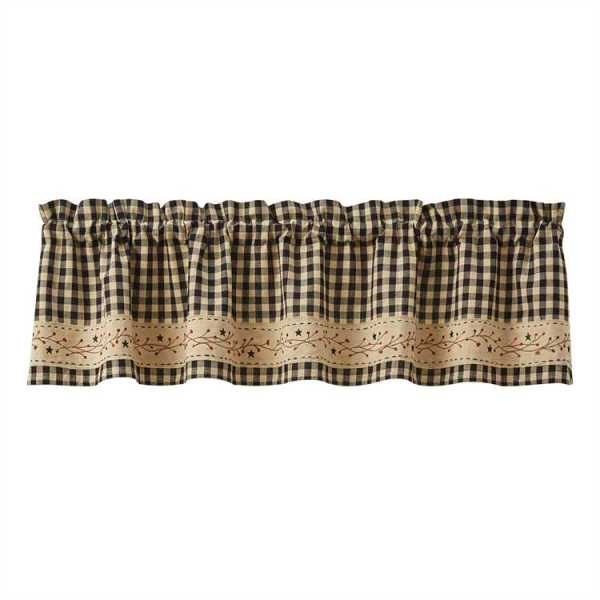 Berry Gingham Lined Border Valance