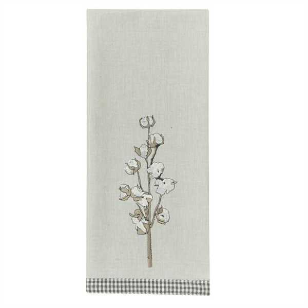 Cotton Fields Embroidered Dishtowel