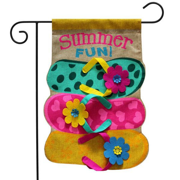 Summer Fun Flip Flops Burlap Garden Flag