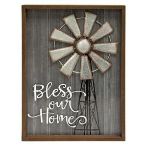 Bless Our Home Windmill Wall Sign