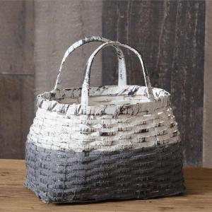 Gray White Two-Tone Handle Basket