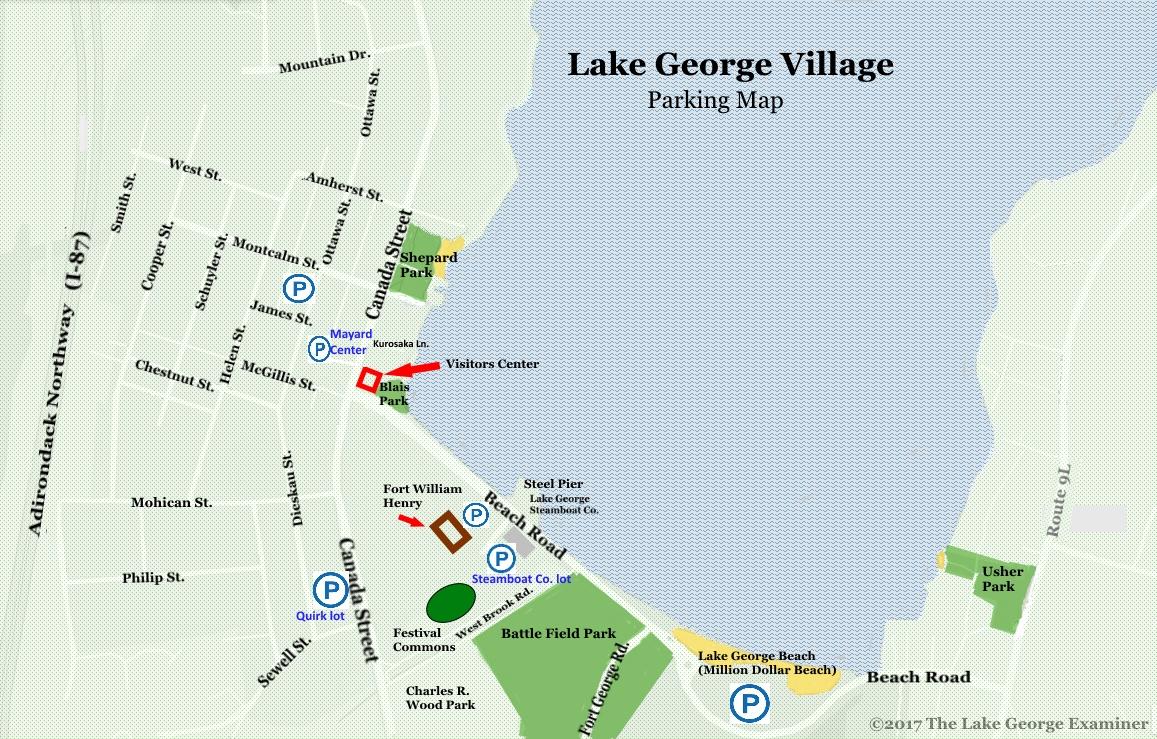lake george village map Lake George Village Parking The Lake George Examiner lake george village map