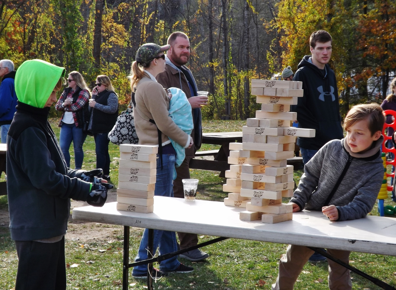 Large versions of popular games were set up on the grounds.