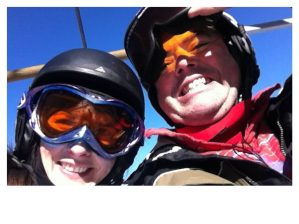 Skiers on ski lift at Wolf Ridge Ski Resort, NC
