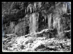 Icicles on cliff of Highway 64 W between Cashiers and Highlands NC