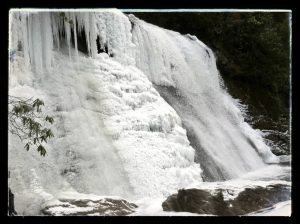 Thick Ice on Silver Run Falls Cashiers NC