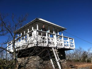 Man on Yellow Mountain Fire Tower, Cashiers, NC