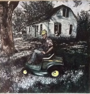 Painting of old man on tractor by Mike Price
