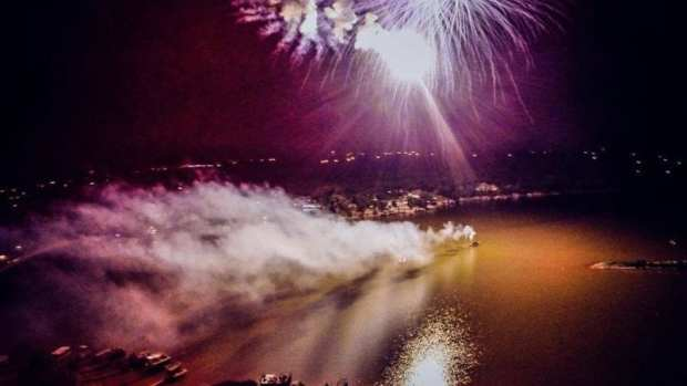 Lake Hiwassee Fireworks - Drone Photo - Justin Waltrip