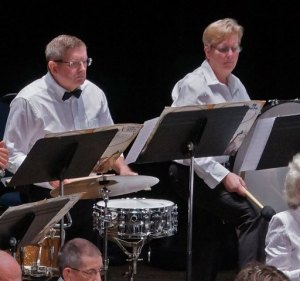 photo of drummers performing with the Lakeland Concert Band