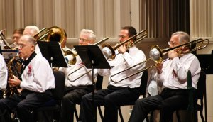 Trombones playing in the Lakeand Concert Band