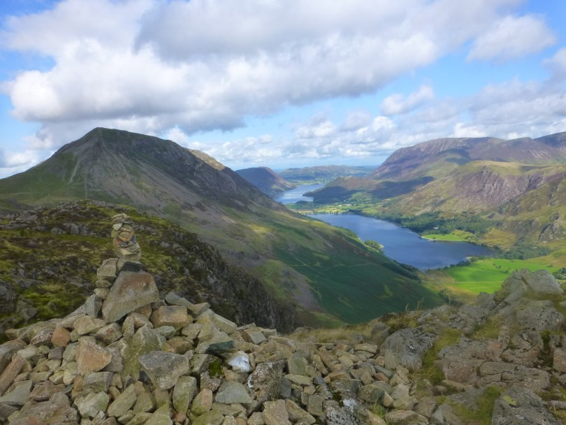 High Stile and Buttermere from Haystacks summit cairn