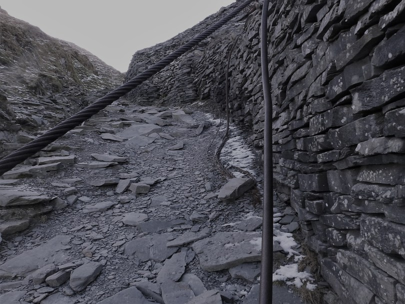 Slate wall and iron cables