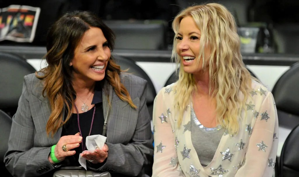 Linda Rambis and Jeanie Buss at Staples Center