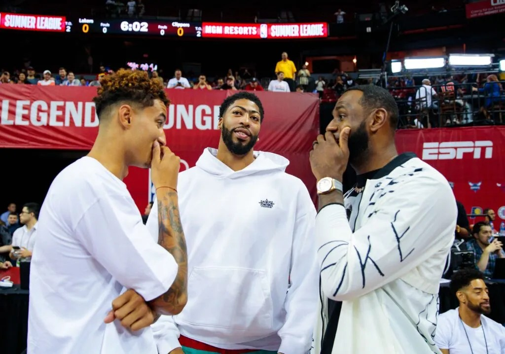 Kyle Kuzma, Anthony Davis and LeBron James at Thomas & Mack Center in Las Vegas