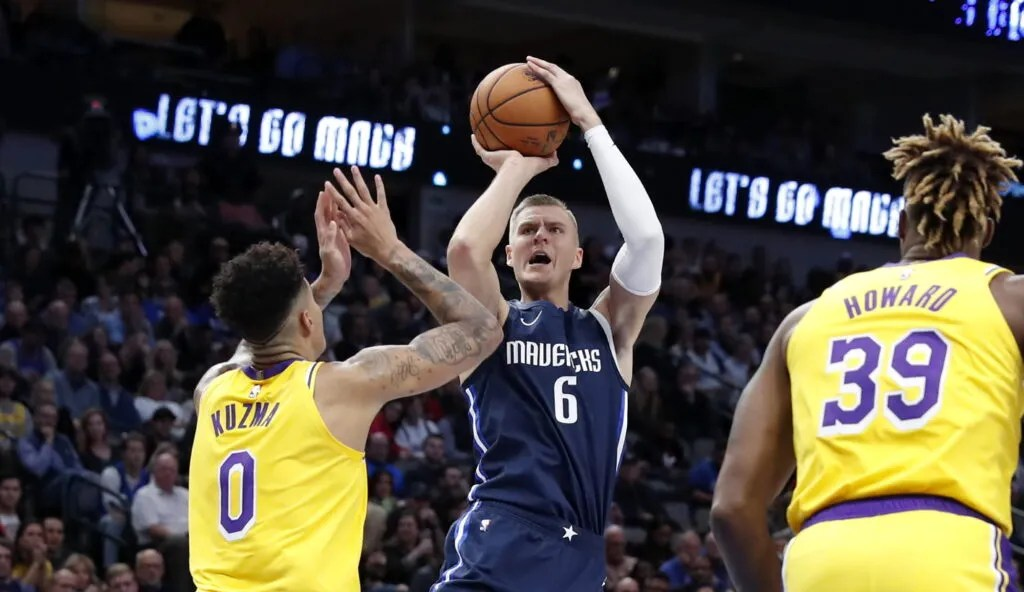 Kyle Kuzma and Kristaps Porzingis, Los Angeles Lakers vs Dallas Mavericks