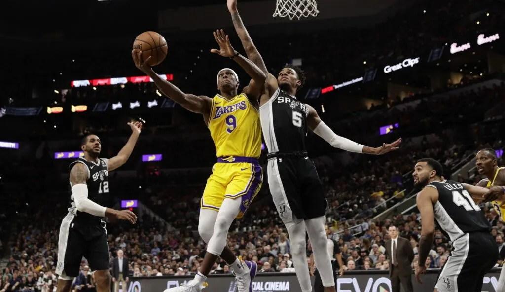 Rajon Rondo and Dejounte Murray, Los Angeles Lakers vs San Antonio Spurs