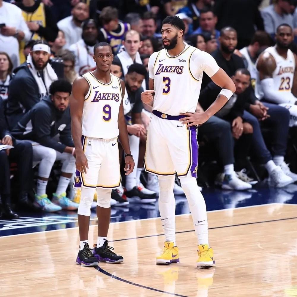 Rajon Rondo and Anthony Davis, Los Angeles Lakers vs Denver Nuggets
