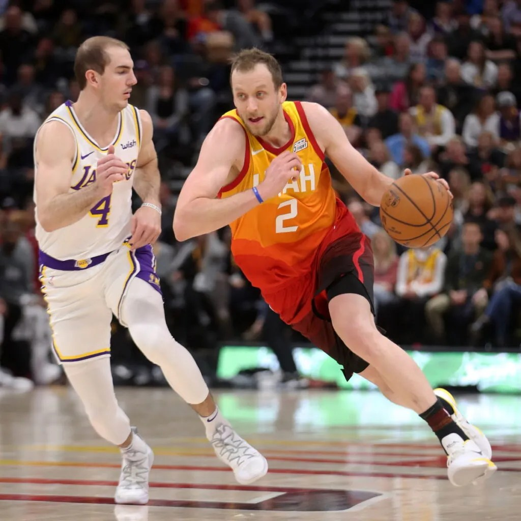 Alex Caruso and Joe Ingles, Los Angeles Lakers vs Utah Jazz