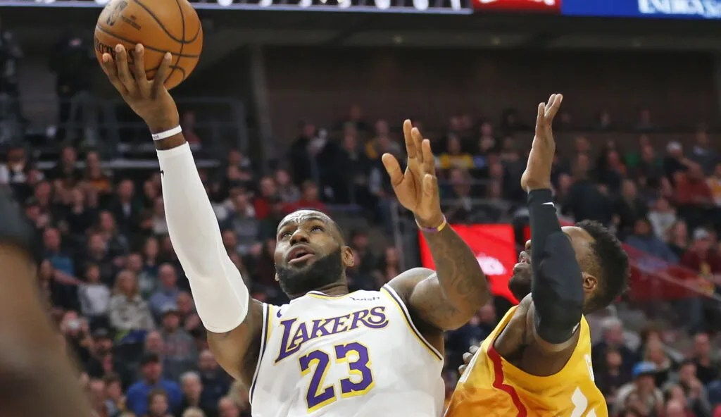 LeBron James and Jeff Green, Los Angeles Lakers vs Utah Jazz City