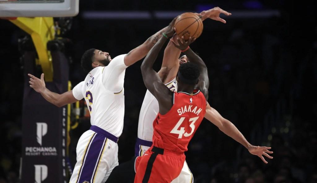Anthony Davis and Pascal Siakam, Los Angeles Lakers vs Toronto Raptors