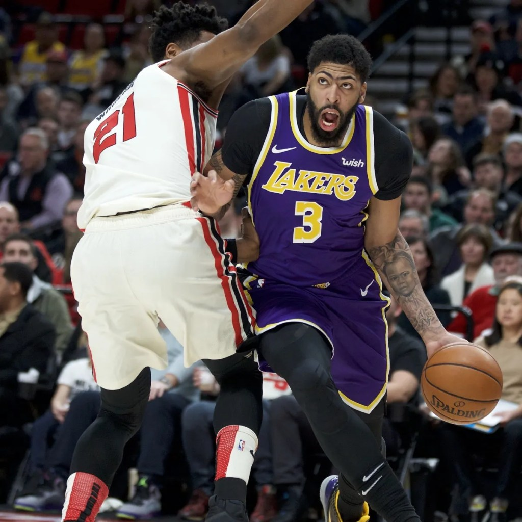 Anthony Davis and Hassan Whiteside, Los Angeles Lakers vs Portland Trail Blazers at the Moda Center
