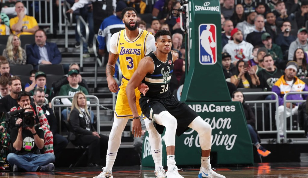 Anthony Davis and Giannis Antetokounmpo, Los Angeles Lakers vs Milwaukee Bucks