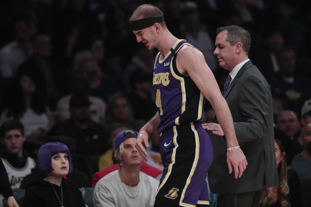 Alex Caruso and Frank Vogel, Los Angeles Lakers vs Orlando Magic at STAPLES Center