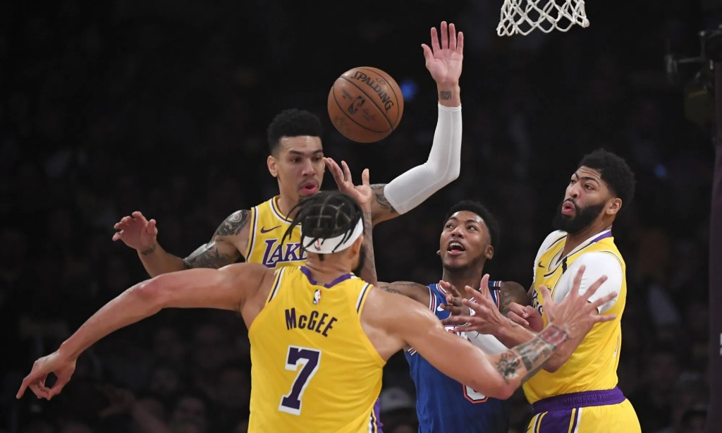 Danny Green, JaVale McGee, Anthony Davis and Elfrid Payton. Los Angeles Lakers vs New York Knicks at STAPLES Center