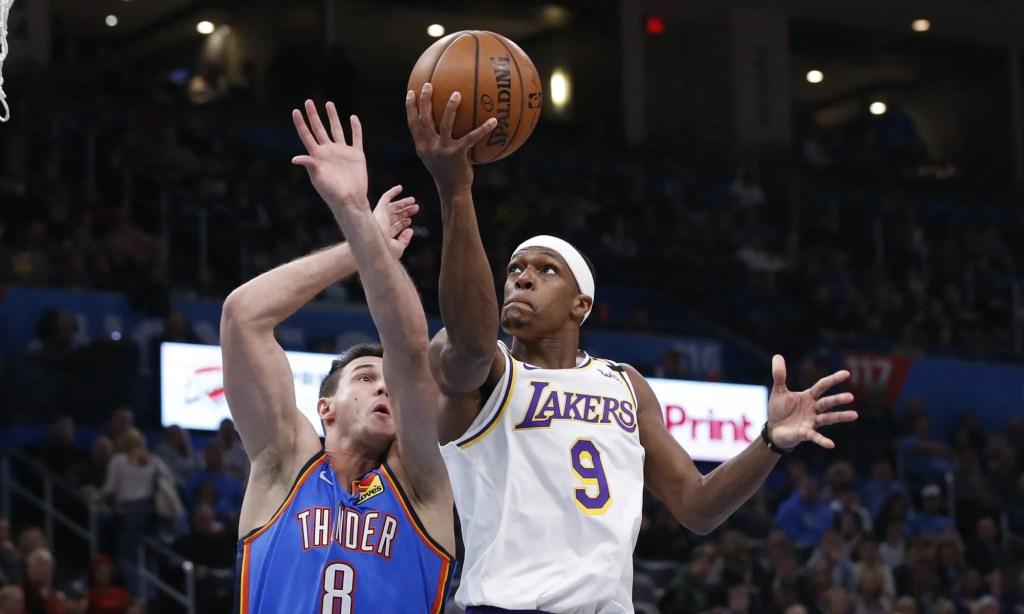 Rajon Rondo and Danilo Gallinari, Los Angeles Lakers vs Oklahoma City Thunder at Chesapeake Energy Arena