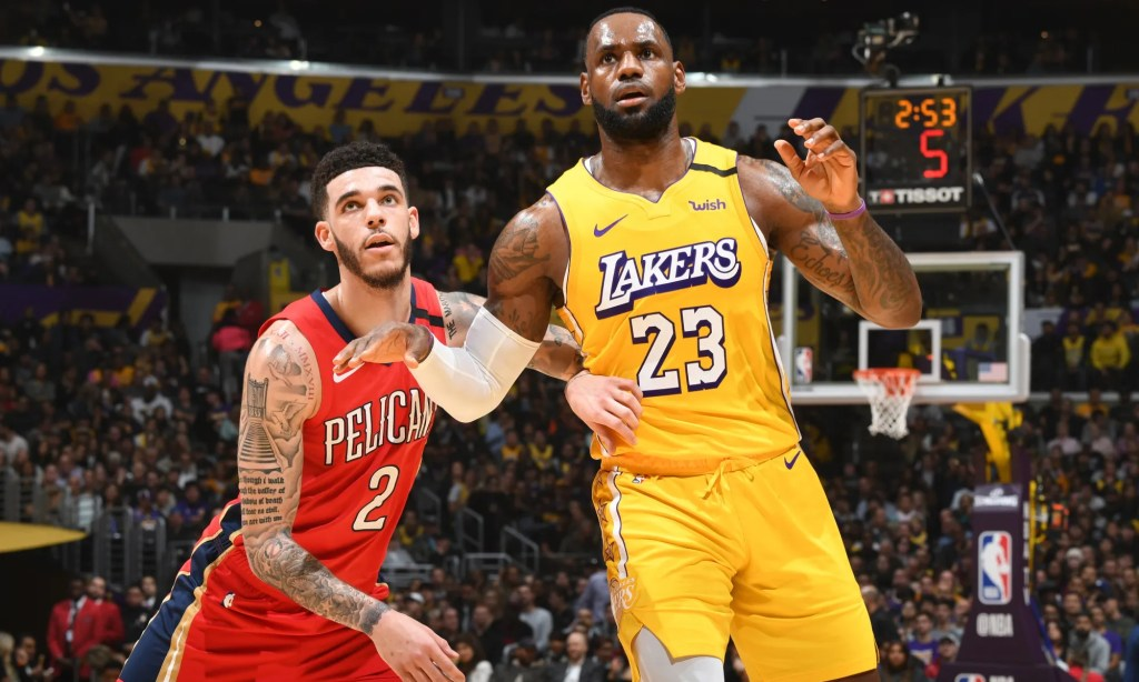 Lonzo Ball and LeBron James, Los Angeles Lakers vs New Orleans Pelicans at STAPLES Center