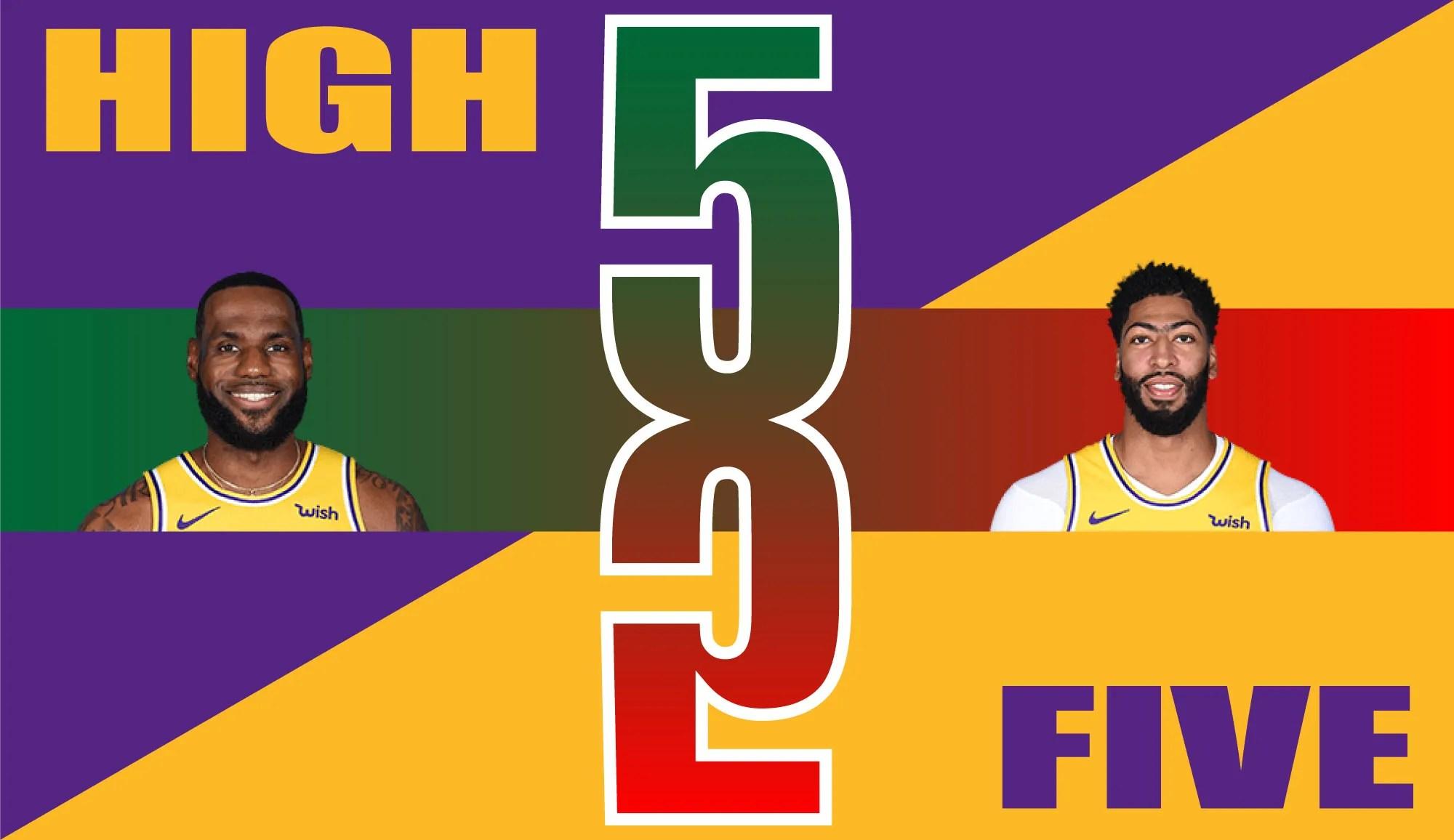 High Five, LeBron James and Anthony Davis
