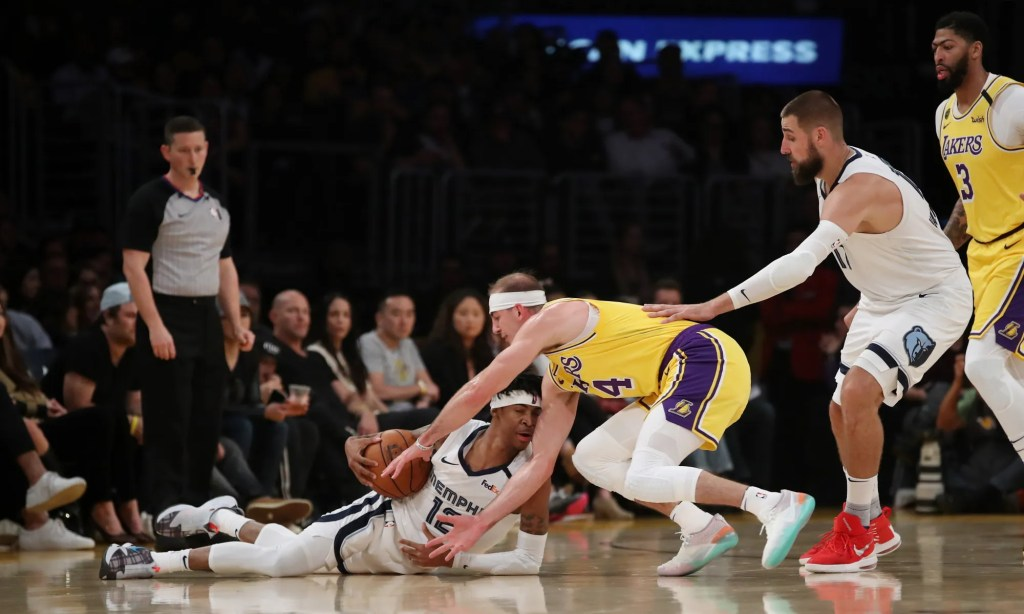 Ja Morant and Alex Caruso, Los Angeles Lakers vs Memphis Grizzlies at STAPLES Center