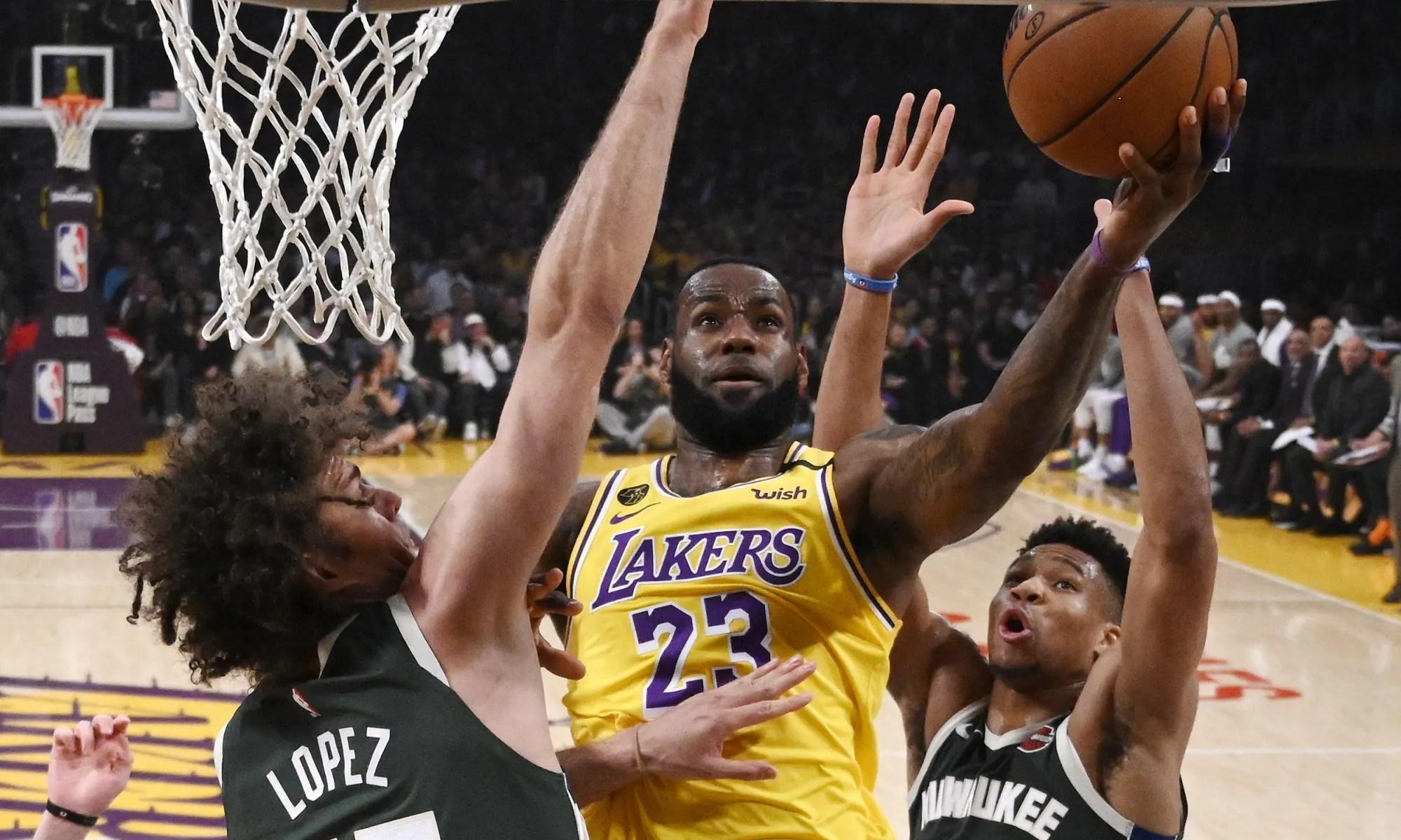 LeBron James, Robin Lopez and forward Giannis Antetokounmpo. Los Angeles Lakers vs Milwaukee Bucks at STAPLES Center